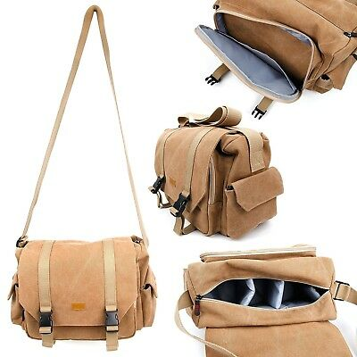 Tan-Brown Large Sized Canvas Portable Speaker Carry Bag for Campark ACT68 - by