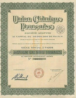 Union Chimique Francaise S. A., 500 Francs,1930
