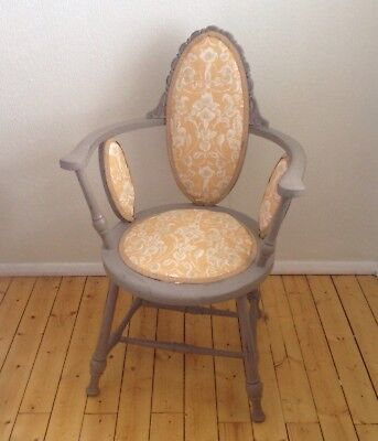"""Victorian """"French Painted"""" Bedroom Chair / Laura Ashley Fabric"""