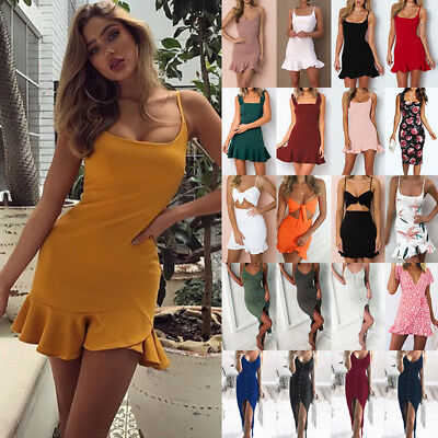 UK Women Summer Holiday Strappy Backless Frill Hem Ladies Beach Party Mini Dress