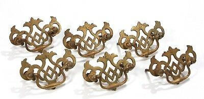 Antique Vintage  6 Pc Lot Victorian Brass Chippendale Style Scroll Drawer Pulls