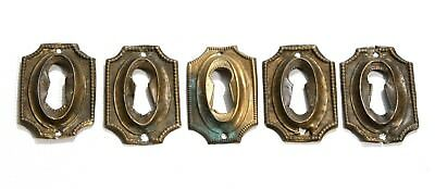 Antique Brass Skeleton Key Hole Plate 5 Piece Lot Victorian Furniture