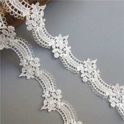1 yard White Crescent Flower Lace Edge Trim Ribbon Wedding Applique Sewing Craft