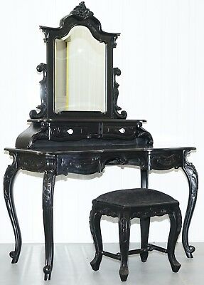 Nice Vintage French Louis Style Black Dressing Table & Stool Crystal Handles