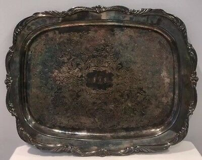 Vintage Towle Silverplate Rectangular Scroll Edge Serving Tray Platter Signed