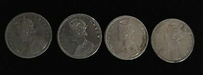 1862,1885,1888/89 British India Queen Victoria Lot Of 4 One Rupee Silver Coins.