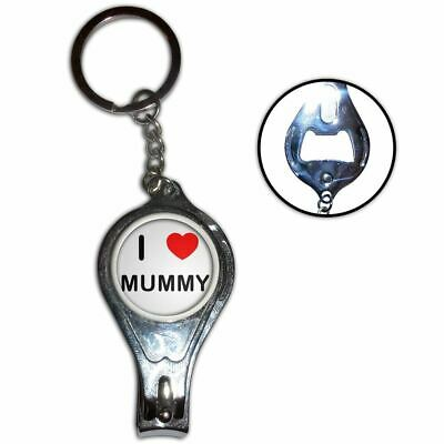 I love Mummy -  Nail Clipper Bottle Opener Metal Key Ring New