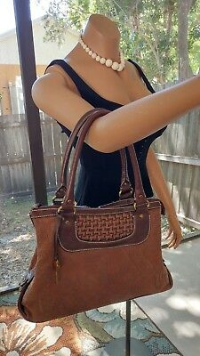 Fossil Modern Vintage Brown Woven And Tapestry Tote Handbag