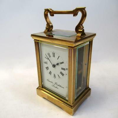 Vintage Brass Carriage Clock by Charles Frodsham with Key - Working Condition
