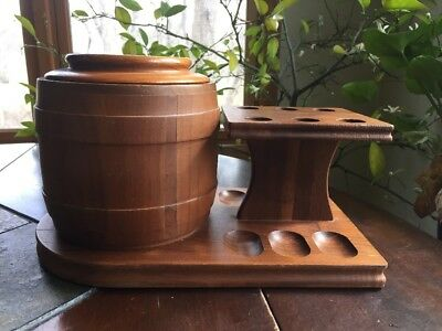 Vintage CORK LINED Wooden HUMIDOR & HUMISTAT pipe tobacco Pipe Holder