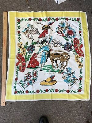 Old Mexico Travel Scarf Souvenir- Never Worn VINTAGE Beauty!