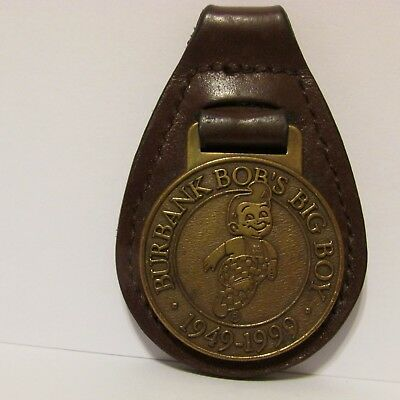 Bob's Big Boy Restaurant Burbank 50th Anniversary Key Fob 1999 Brass Leather