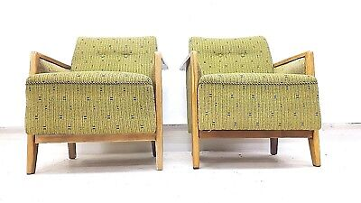 Pair of Vintage Retro Mid Century Danish Armchairs Bedroom Cocktail Easy Chairs