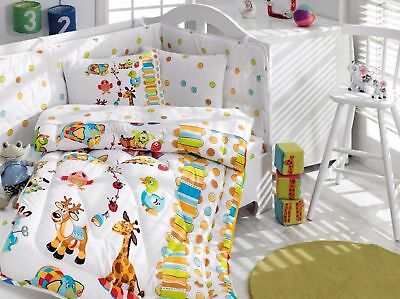 100% Cotton Animals Giraffe Themed Toddlers Crib Bedding Baby Quilt Set 6 PCS