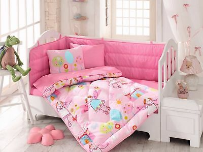 100% Cotton Tale Toddlers Crib Bedding for Baby Girls Quilt Set 6 PCS Pink