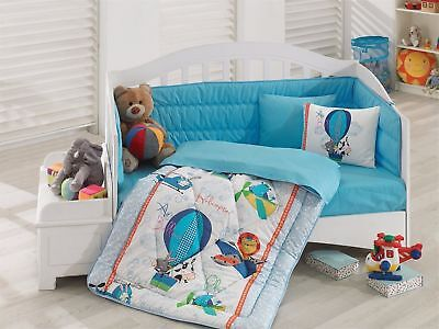 100% Cotton Animals Toddlers Crib Bedding Baby Quilt Set 6 PCS Blue Baby Boys