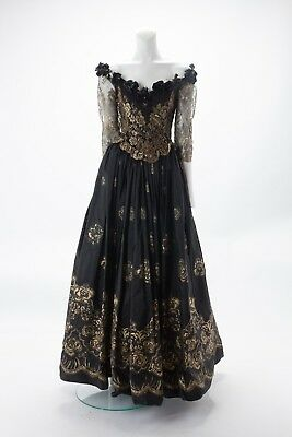 Vintage Zandra Rhodes Black and Gold Floral Gown