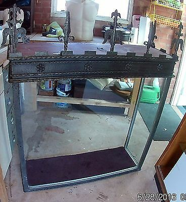 Vintage Taxidermy/ Display Cabinet In Grey Metal Gothic Style. Glass Front/sides