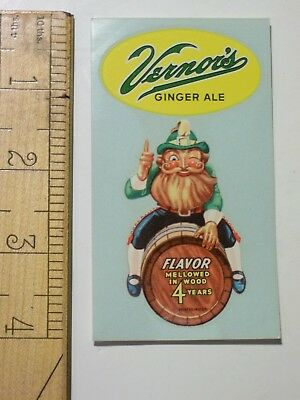 "NOS Vernor's GINGER ALE 1950 GNOME DECAL Near Mint 4"" Die Cut Sign VERNORS Soda"