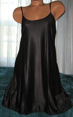 Stretch Nylon Nightgowns Slip Chemise 1X Plus Size Black Short Gown