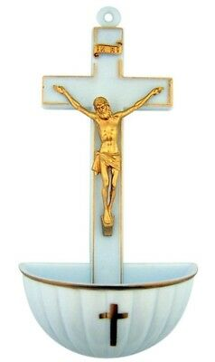 Jesus Christ on Cross Moulded Acrylic Holy Water Font, White, 13cm. CB