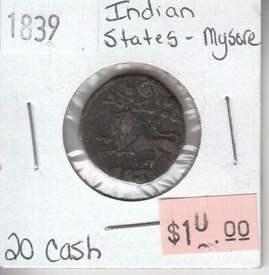 Indian States Mysore 20 Cash 1839 Circulated