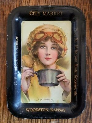 C E Larue City Market Woodston Kansas Advertising Tip Change Tray Roadster Girl