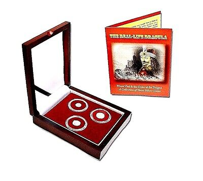 The Real Life DRACULA: A Collection of 3 Silver Coins In Beautiful Wood Box