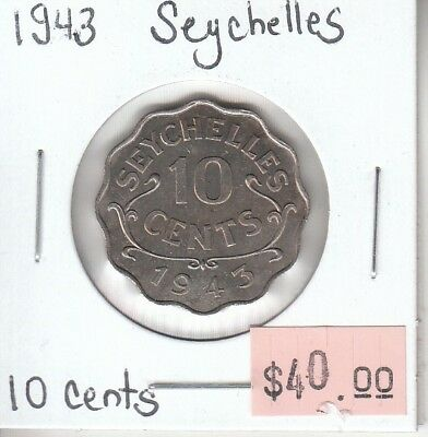 Seychelles 10 Cents 1943 AU Almost Uncirculated