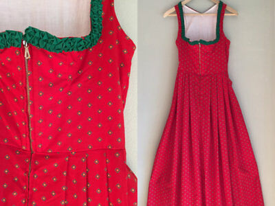 Vintage German Bavarian Dirndl Dress Red size XS Johanna Rappel 1950s folk