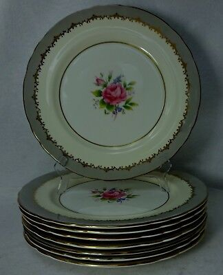 AYNSLEY china LANCASTER GRAY 7610 pattern Set of 8 Dinner Plates - 10-5/8""