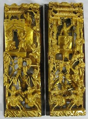 Antique? Vintage Pair Chinese Deep Relief Carved Wood Gold Gilt Panels Warriors