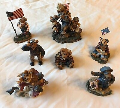 Boyd's Bears Patriotic/Military/Police 7 Resin Figurines Excellent Condition