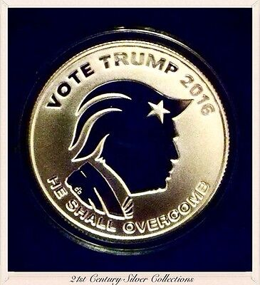 Fiery 1oz VOTE TRUMP 2016 .999 Silver Reverse PROOF Coin COA Box Silver Shield