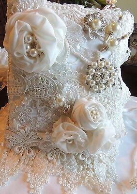 Bridal lace and fabric Packet book with stick pins