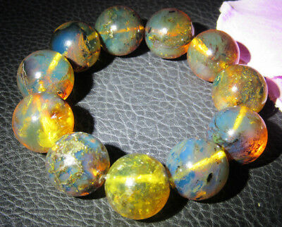 Dominican Amber Bracelet Blue Bangle Bead about 20-21mm sphere ball(51.4g)#1066
