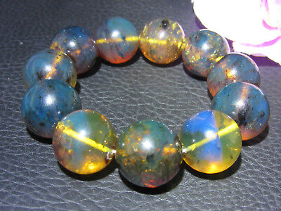 Dominican Amber Bracelet Blue Bangle Bead about 19-20mm sphere ball(43.1g)#1065