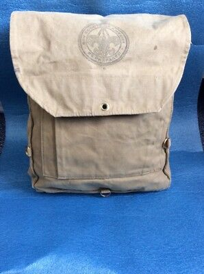 Official Vintage Boy Scouts of America Canvas Haversack  Backpack Cabin Decor D