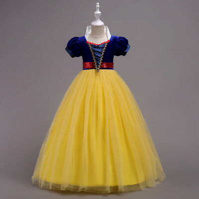 Kids Girls Princess Snow White Cosplay Costumes Fancy Dress Costume Birth Party