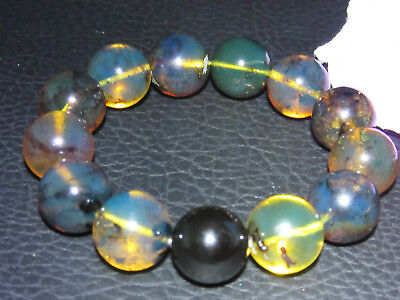 Dominican Amber Bracelet Blue Bangle Bead about 15-16mm sphere ball(28.0g)#1075