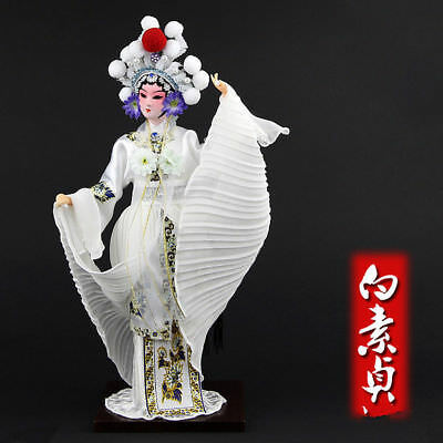 Beautiful Oriental Broider Doll, Old style figurine doll Opera character White