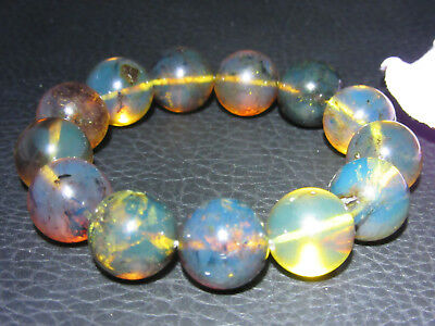 Dominican Amber Bracelet Blue Bangle Bead about 16-17mm sphere ball(29.5g)#1080