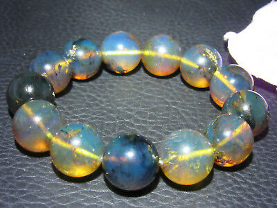 Dominican Amber Bracelet Blue Bangle Bead about 16-17mm sphere ball(31.2g)#1079