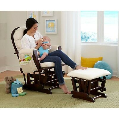 Glider And Ottoman Baby Rocker Beige Cushions Espresso Rocking Chair Nursery New