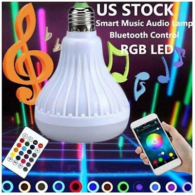 Luz bombilla color RGB LED E27 12W Lampara altavoz audio musica inteligente B1L4