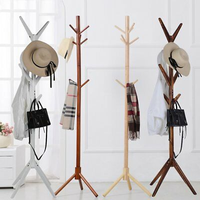 8 Hooks 4 Colors Coat Hat Bag Clothes Rack Stand Tree Style Hanger Wooden BF