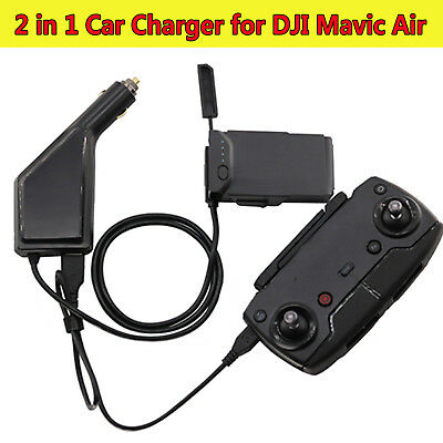 2 in 1 Car Charger Adapter Charging Hub for DJI Mavic Air Remote Control/Battery
