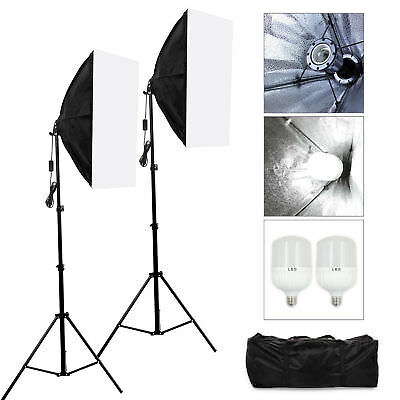 2x 25W LED Photography Studio Softbox Continuous Lighting Soft Box Light Stand