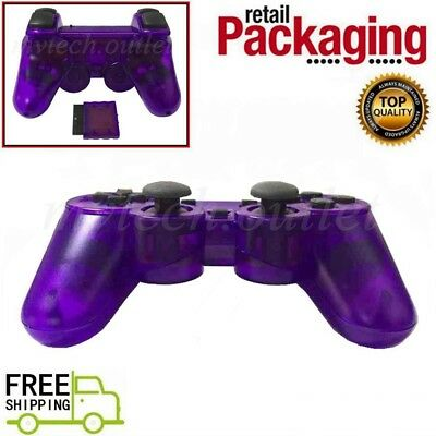 New Clear Purple Wireless 2.4GHz Twin Shock Controller For PS2 Joystick Joypad