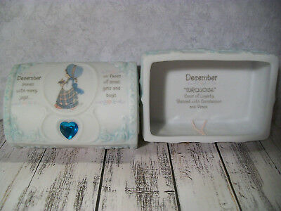 Precious Moments Birthstone Trinket Box, December, Turquoise, Jewelry, Chest
